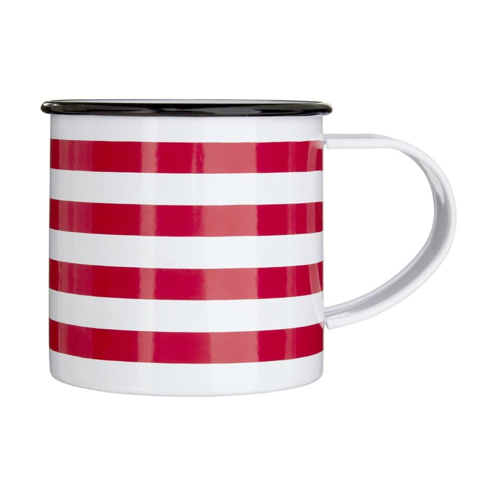 Červeno-biely pruhovaný hrnček z ocele Premier Housewares, 350 ml