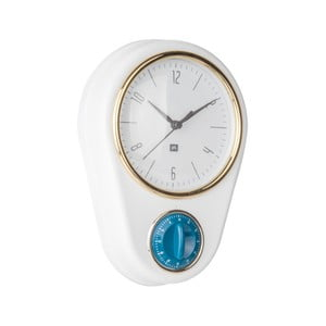 Biele nástenné hodiny s kuchynskou minútkou PT LIVING