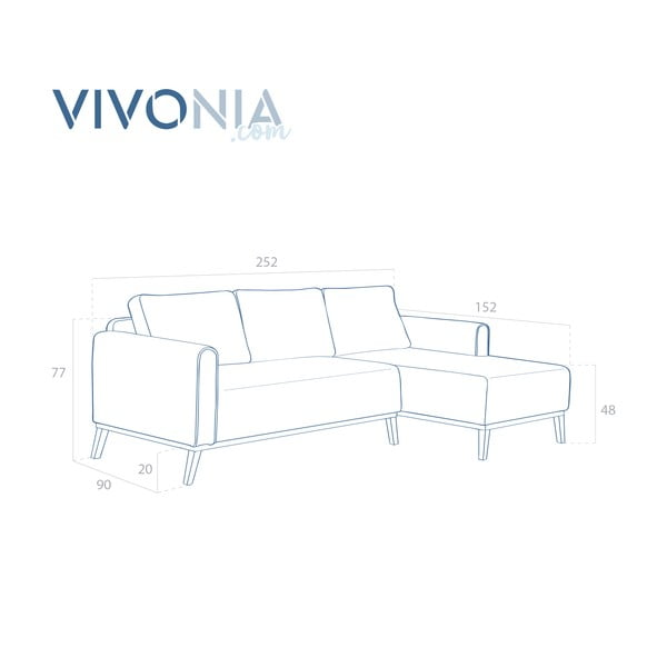 Tmavomodrá pohovka s leňoškou napravej strane Vivonita Milton