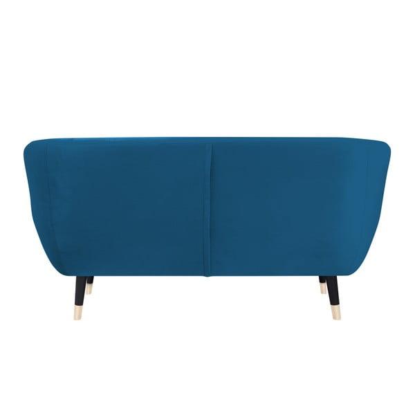 Modrá dvojmiestna pohovka s čiernymi nohami Mazzini Sofas Amelie
