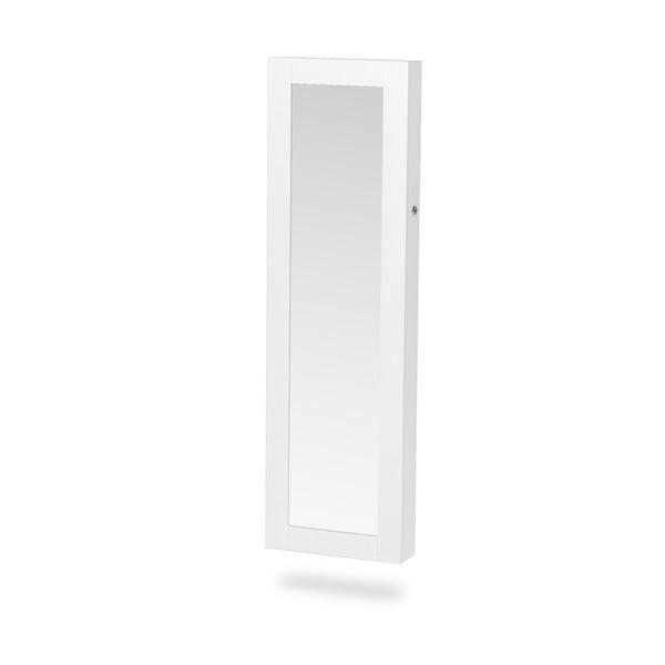 Biela závesná šperkovnica na dvere so zrkadlom Chez Ro Bien