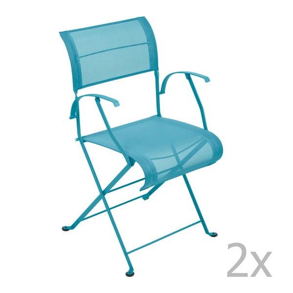 Sada 2 tyrkysových skladacích stoličiek s opierkami na ruky Fermob Dune