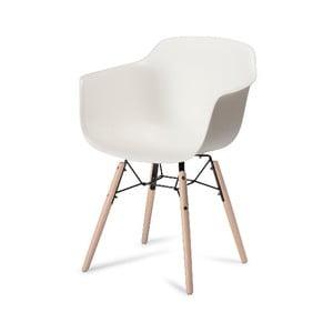 Biela jedálenská stolička s nohami z bukového dreva Furnhouse Jupiter