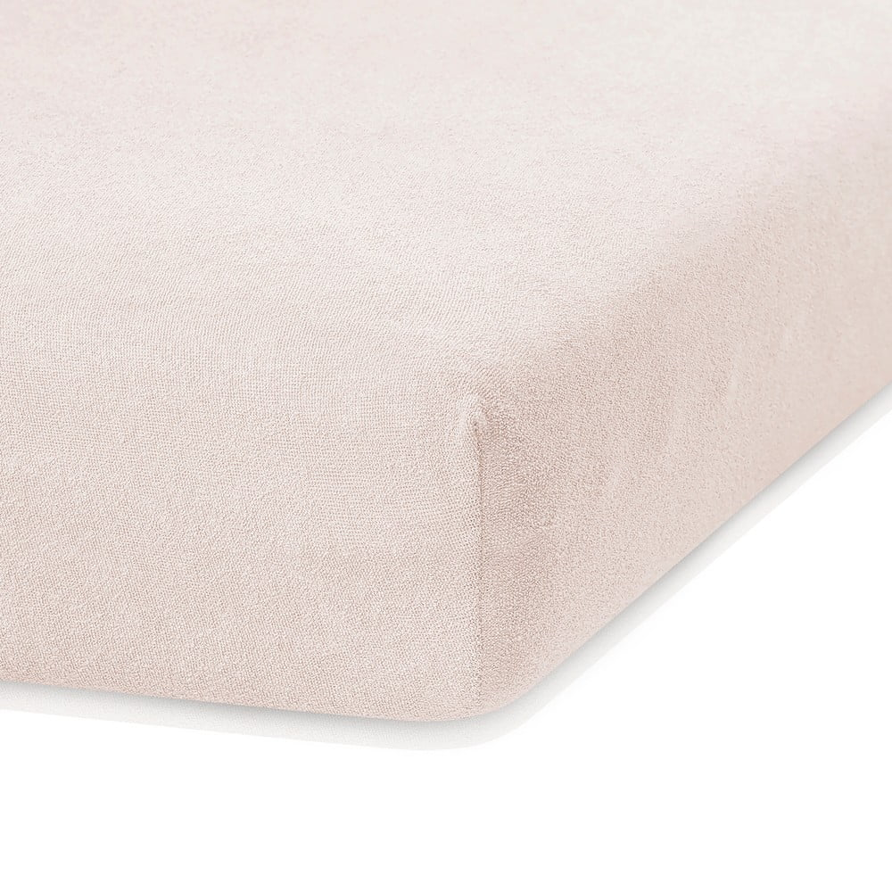 Svetlobéžová elastická plachta s vysokým podielom bavlny AmeliaHome Ruby, 200 x 160-180 cm