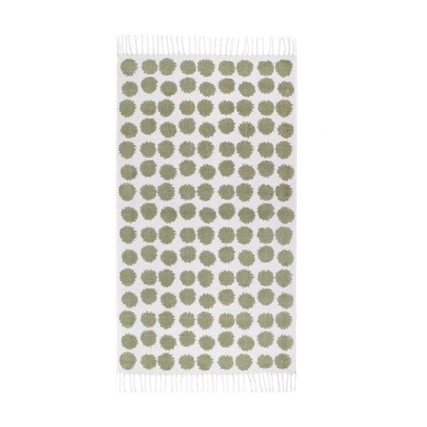 Zeleno-biely koberec Roomblush Fluff, 80x140cm