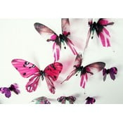 Sada 18 ružových adhezívnych 3D samolepiek Fanastick Butterflies