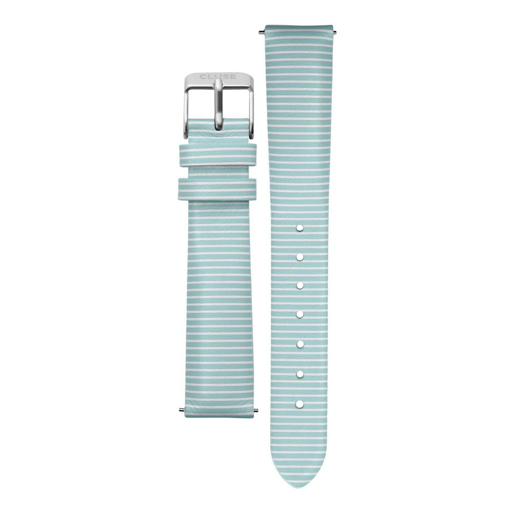 Svetlomodrý kožený remienok s detailmi v striebornej farbe k hodinkám Cluse Minuit