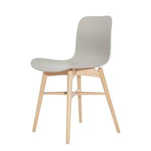 Sivá jedálenská stolička z masívneho bukového dreva NORR11 Langue Natural