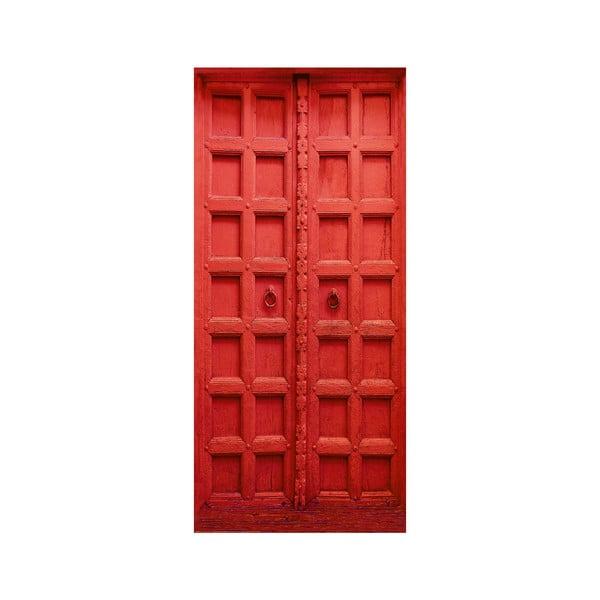 Červená samolepka na dvere Eurographics