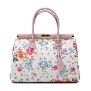 Biela kožená kabelka s kvetinovým motívom Renata Corsi Selena