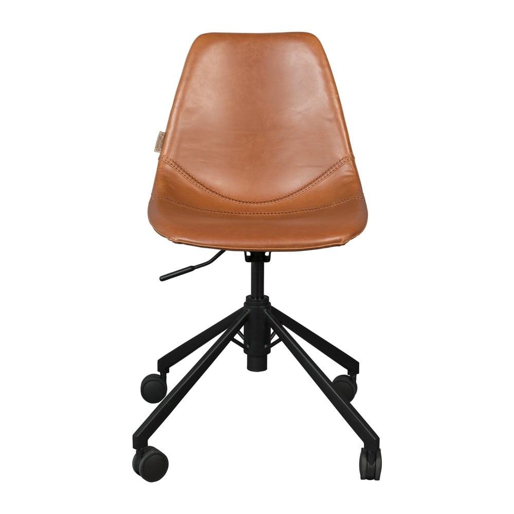 Hnedá kancelárska stolička na kolieskach Dutchbone Franky
