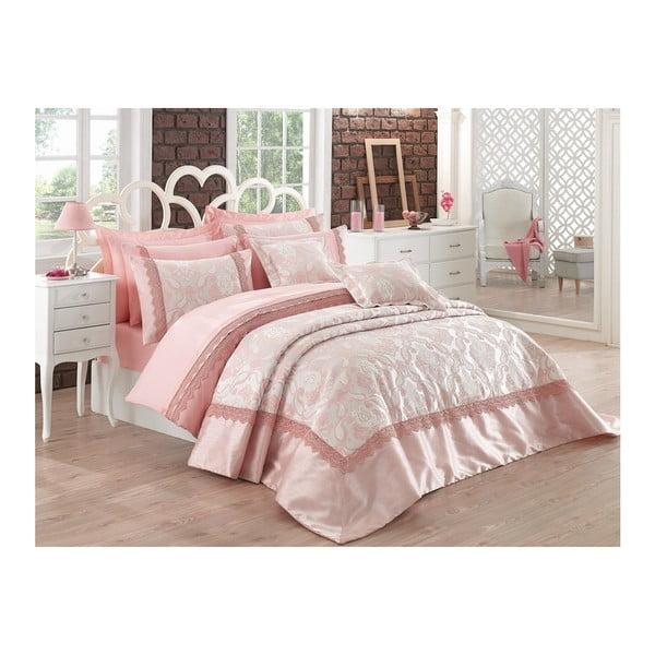 Pléd cez posteľ na dvojlôžko s obliečkami na vankúše Belezza, 260 x 270 cm