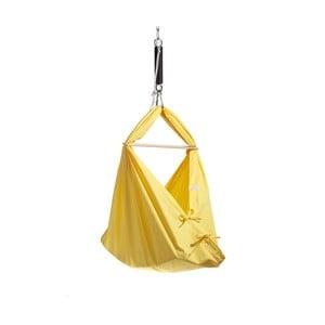 Malá žltá kolíska z bavlny so zavesením do dverí Hojdavak Baby (0 až 9 mesiacov)