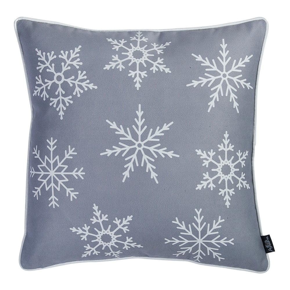 Sivá obliečka na vankúš s vianočným motívom Apolena Honey Snowflake, 45 × 45 cm