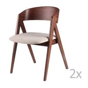 Sada 2 béžovo-hnedých jedálenských stoličiek sømcasa Rina