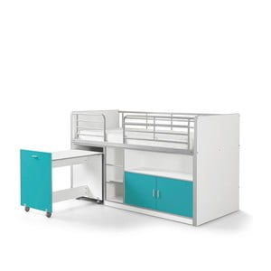 Tyrkysová poschodová posteľ s vysúvacím stolíkom a úložným priestorom Vipack Bonny, 200 × 90 cm