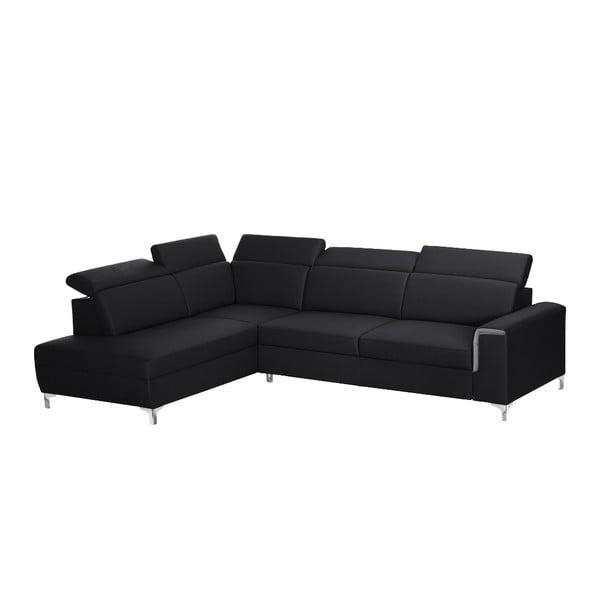 Čierno-sivá pohovka Modernist Serafino, ľavý roh