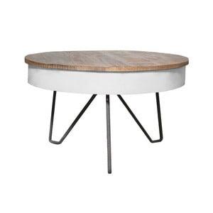 Biely konferenčný stolík s doskou z mangového dreva LABEL51 Saria
