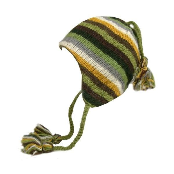 Vlnená čiapka s ušami Zelené pruhy
