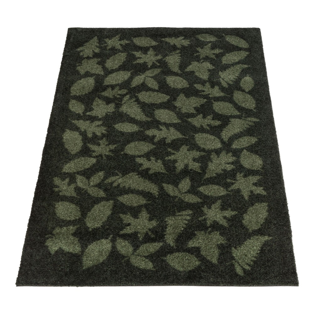 Tmavozelená rohožka tica copenhagen Leaves, 90 x 130 cm