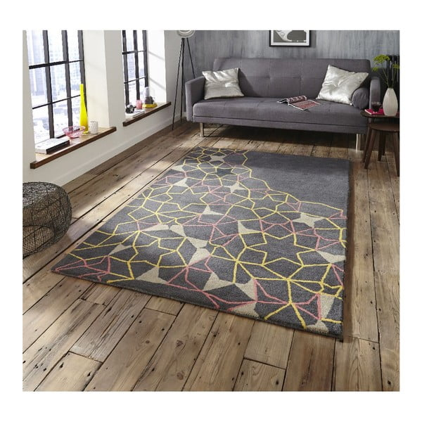 vlnený koberec Think Rugs Spectrum Grey Yellow Pink, 150 x 230 cm