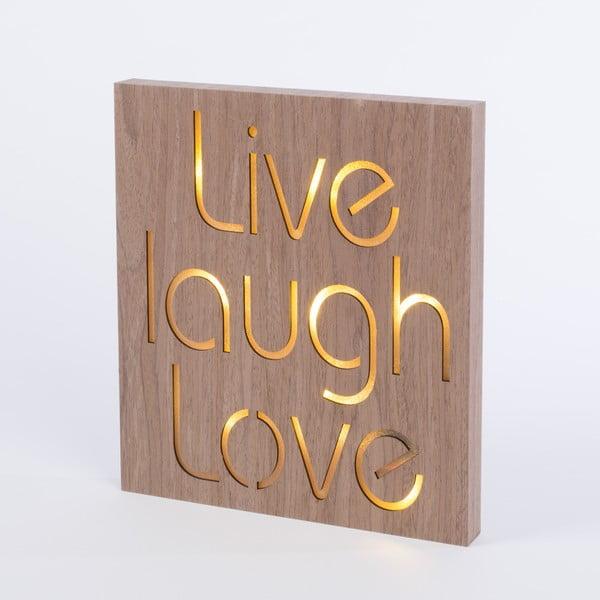 Obraz so svietiacim nápisom Live Laugh Love, 30x30 cm