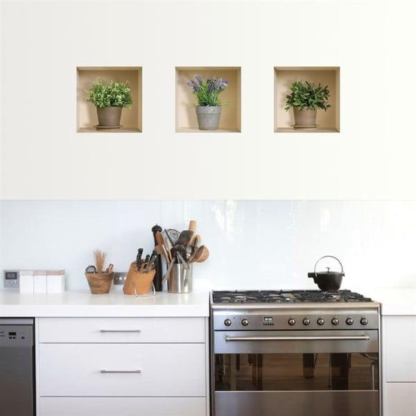 3D samolepky na stenu Nisha Pots de fleurs