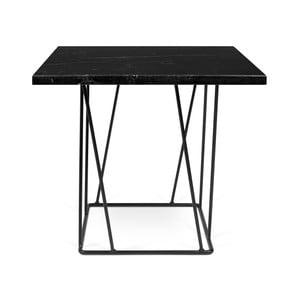 Čierny mramorový konferenčný stolík s čiernymi nohami TemaHome Helix, 50cm