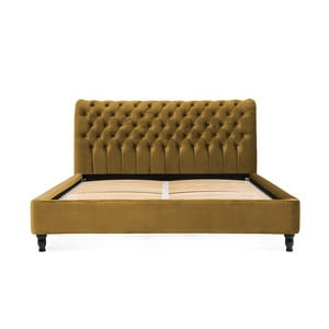 Horčicovohnedá posteľ z bukového dreva s čiernymi nohami Vivonita Allon, 180 × 200 cm
