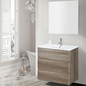 Kúpeľňová skrinka s umývadlom a zrkadlom Nayade, dekor dubu, 70 cm