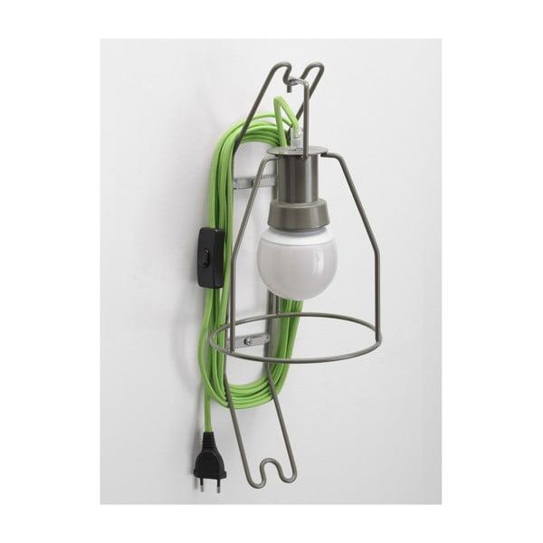 Nástenná lampa Walker, zelený kábel