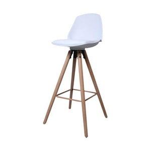 Biela barová stolička s podnožím z dubového dreva Actona Oslo