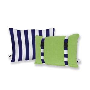 Zelený obojstranný plážový vankúš Origama Blue Stripes