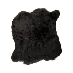 Černý kožušinový koberec s krátkym chlpom, 90x80 cm