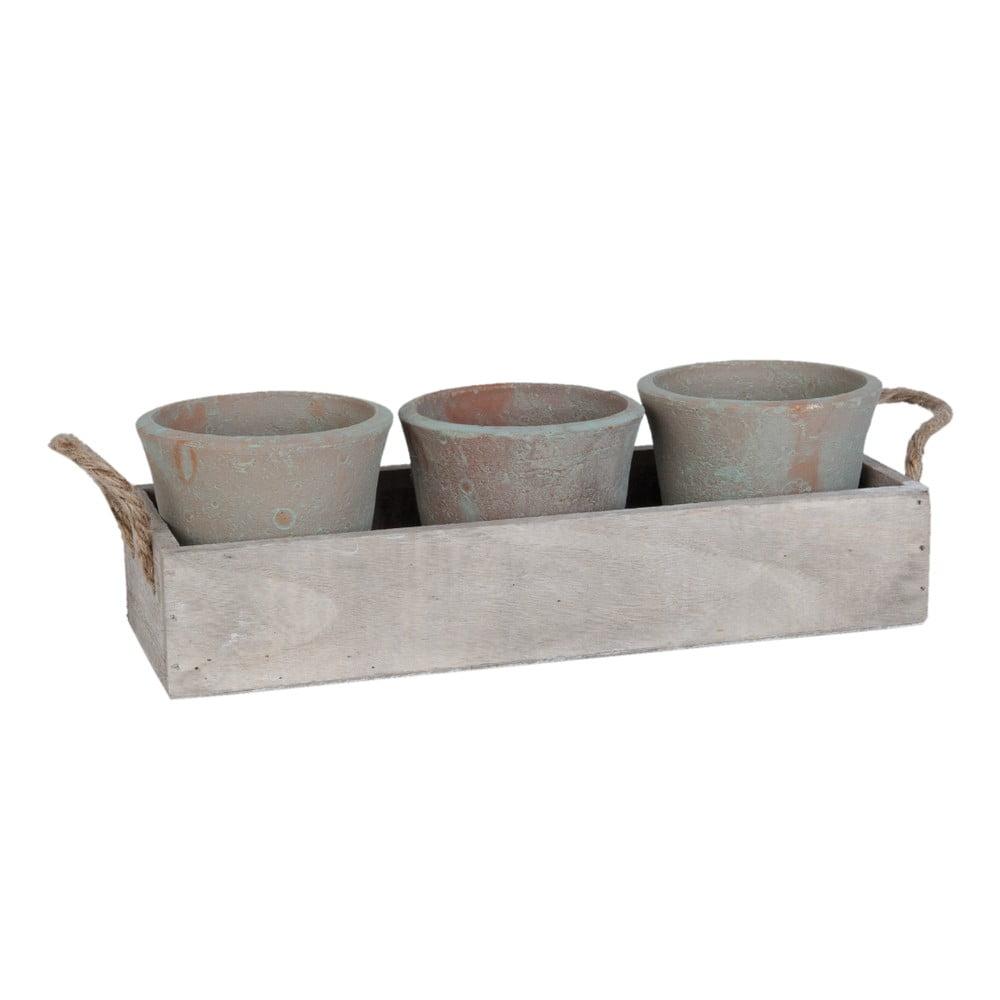 Set debničky a 3 kvenitáčov Clayre & Eef Pots Rustico