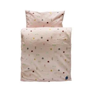Set ružovej detskej obliečky na paplón a vankúš z organickej bavlny OYOY Happy Summer, 200 × 140 cm