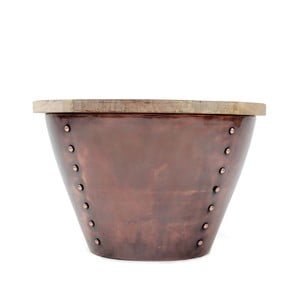 Príručný stolík v medenej farbe s doskou z mangového dreva LABEL51 Indi, ⌀46 cm