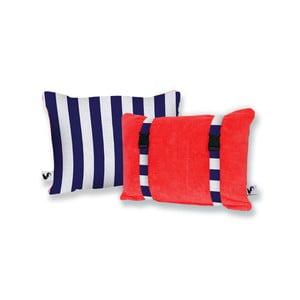 Červený obojstranný plážový vankúš Origama Blue Stripes