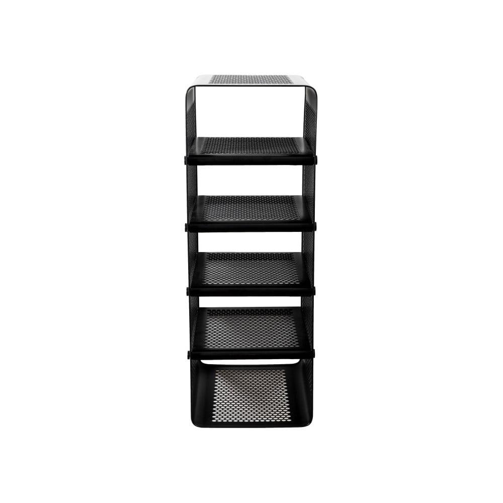Čierna nástenná 5-poschodová skrinka na topánky Tica copenhagen Perforate