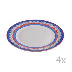 Sada 4 porcelánových dezertných tanierikov Oilily 19 cm, modrá