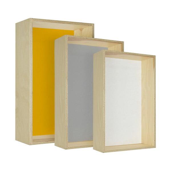 Sada troch poličiek  HF Living Oblong – žltá, sivá, biela