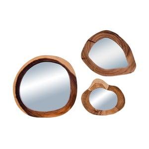 Sada 3 zrkadiel z teakového dreva House Nordic Madrid