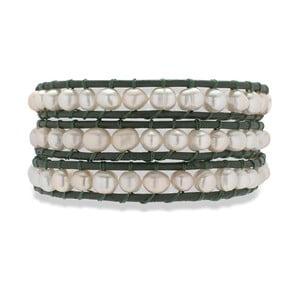 Čierno-biely kožený náramok s perlami Nova Pearls Copenhagen Néreus