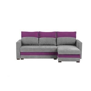 Sivo-fialová trojmiestna rohová rozkladacia pohovka s úložným priestorom Melart Frida