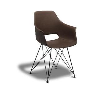 Tmavohnedá jedálenská stolička s nohami z bukového dreva Furnhouse Elvis