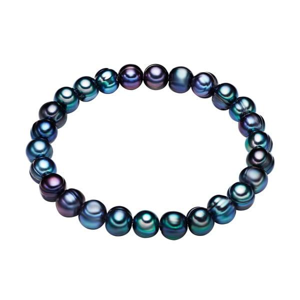 Modrý perlový náramok Chakra Pearls, 19 cm