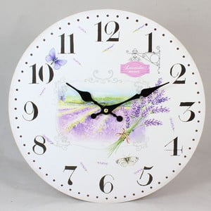 Drevené hodiny Lavender Field, 17 cm