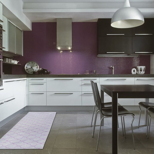 Vysokoodolný kuchynský koberec Trellis Silver, 130x190 cm