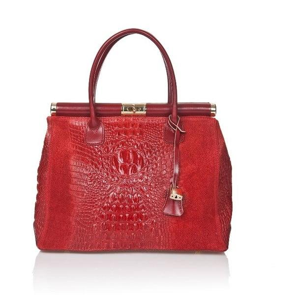 Červená kožená kabelka Markese Mara