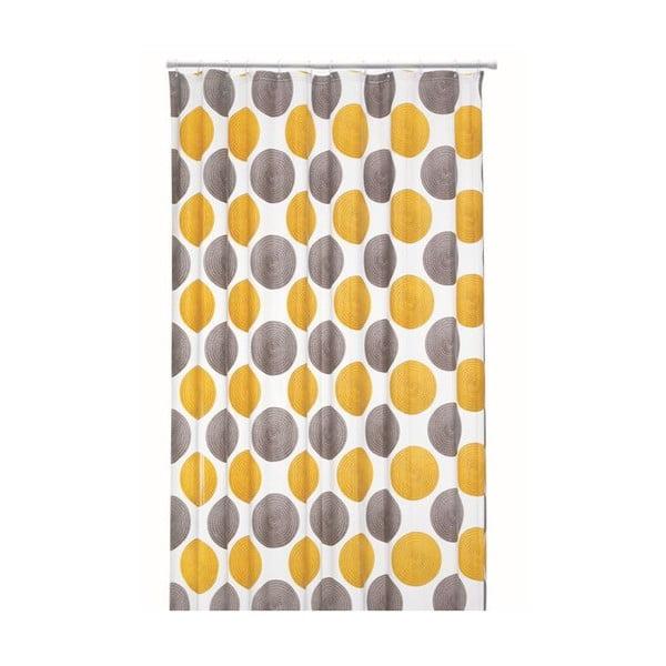 Sprchový záves Lamara Peva, sivý/žltý, 180x200 cm